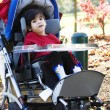 Disabled boy in medical stroller outdoors — Stock Photo