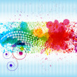 Vector de stock : Color paint splashes. Gradient vector background on blue and whi