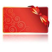 Carton rouge avec l'arc de souhaits — Vecteur