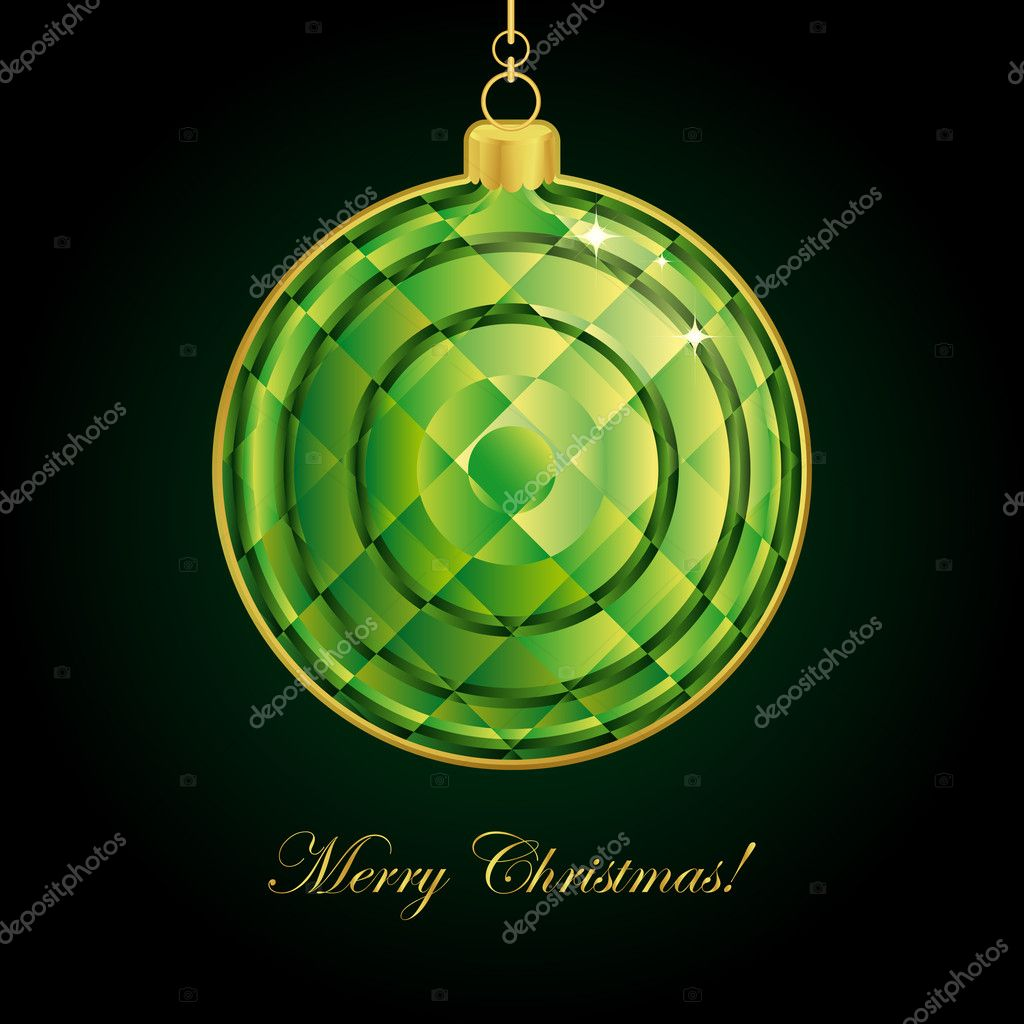 Emerald Christmas ball. Vector illustration. — Stock Vector #4089474