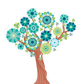 Abstract tree made of flowers. Vector illustration — Stock Vector