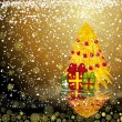 Royalty-Free Stock Imagen vectorial: Fairy golden christmas tree with gifts on a dark snow background
