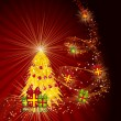Fairy golden christmas tree with gifts on a dark red background. — Vektorgrafik