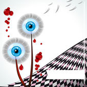 Blue-eyed dandelions - vector emo card. — 图库矢量图片