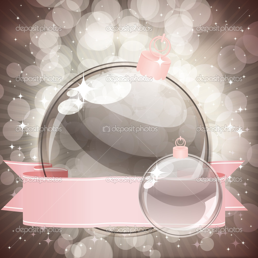 Christmas background with transparent balls   #4164121