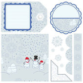 Christmas seamless patter with a family of snowmen and other elements to yo — Stock Vector