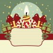 Stock Vector: Retro Christmas background with candles, gifts and banner