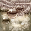 Christmas background with transparent balls — Vector de stock