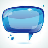 Blue glossy speech bubble - vector background — Stock Vector