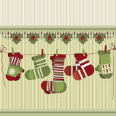 Retro Christmas background with socks and mittens. — Stock Vector