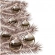 Christmas tree and transparent balls — Vector de stock