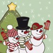 Retro Christmas card with a family of snowmen. — Stock Vector