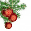 Christmas tree and red balls — Stockvectorbeeld