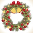 Christmas wreath vector image — Stock Vector