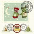 Series of stylized Christmas post stamps. — Stock Vector #4287137