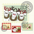 Series of stylized Christmas post stamps. — Vettoriale Stock  #4287144
