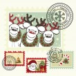 Series of stylized Christmas post stamps. — Imagen vectorial