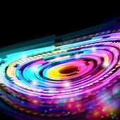 Abstract neon technology circles vector background. — Stock Vector