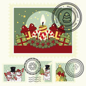 Series of stylized Christmas post stamps. — Stock Vector