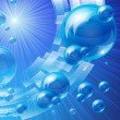 Blue bubbles background, vector image — Image vectorielle