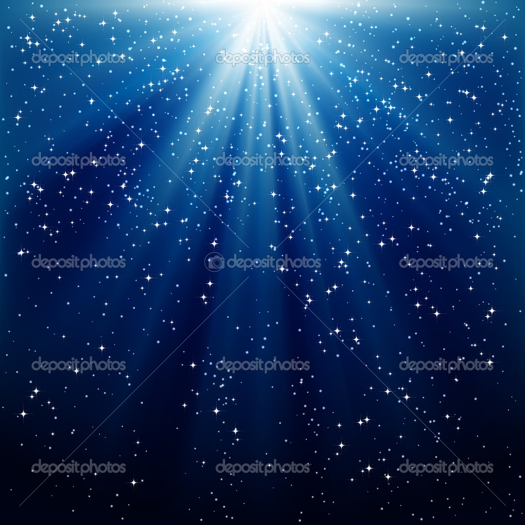 Snow and stars are falling on the background of blue luminous rays  Stock Vector #4434733