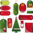 Stock Vector: Twelve Sets of Christmas tags.