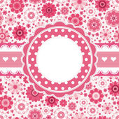 Pink retro card with floral pattern. Seamless background. — Stock Vector