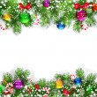 Vector de stock : Christmas background with decorated branches of Christmas tree.