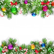 图库矢量图片: Christmas background with decorated branches of Christmas tree.
