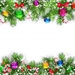 Noel arka plan ile dekore edilmiş Noel ağacı dalı — Stok Vektör