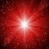 Abstract red background of luminous rays and stars. — Stock Vector