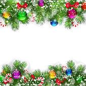 Kerstmis achtergrond met ingerichte takken van kerstboom. — Stockvector