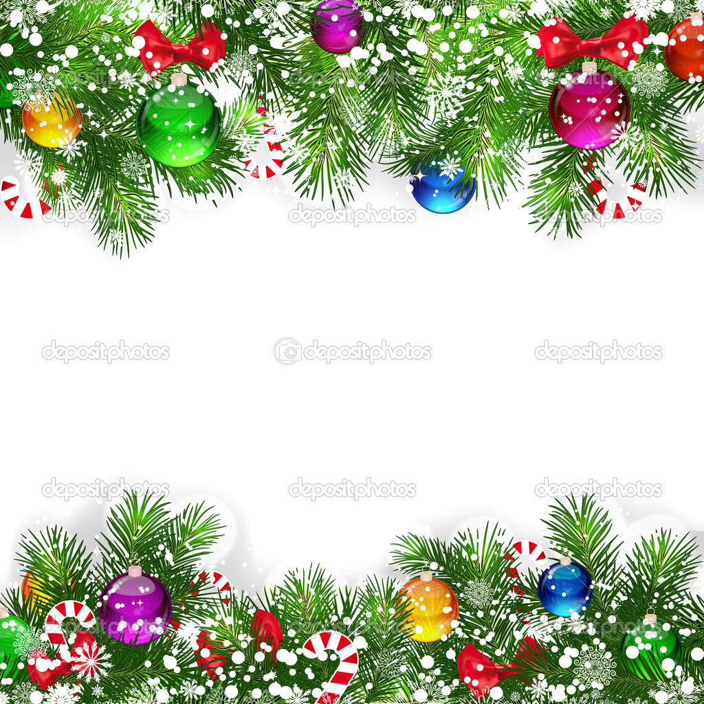 Christmas background with decorated branches of Christmas tree.  Vettoriali Stock  #4498283