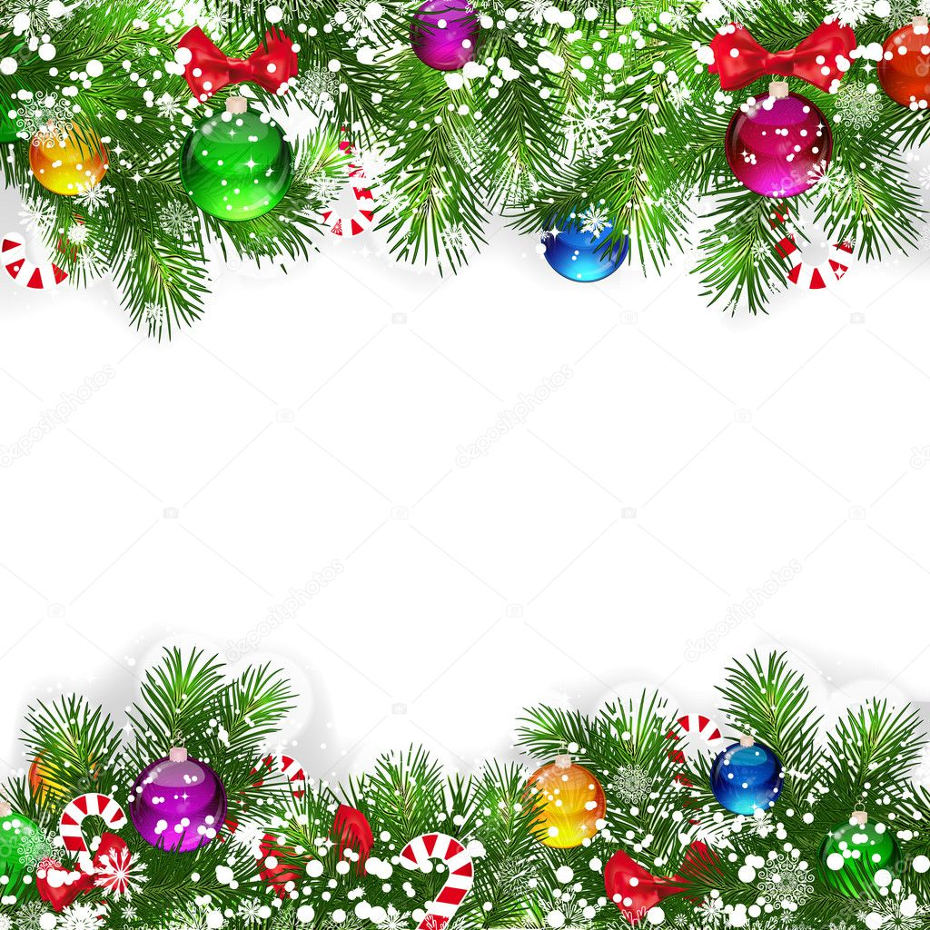 Christmas background with decorated branches of Christmas tree.  Stock Vector #4498283