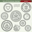 Set of Christmas stamps, vector image. — Stock Vector