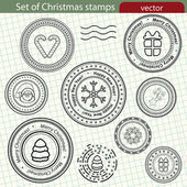 Zestaw znaczków Boże Narodzenie, grafika wektorowa. — Wektor stockowy