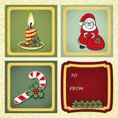 Christmas gift labels with elements of the Christmas decor. — Stock Vector