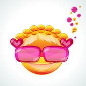 Girl in pink sunglasses, vector image — Stock Vector
