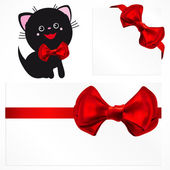 Pussycat and red gift bows. Vector image. — Stock Vector