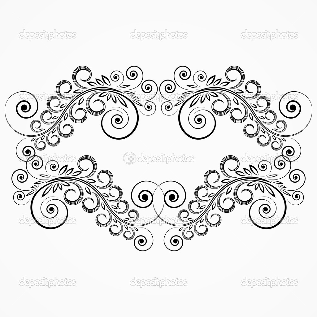 Floral curls. vintage frame. — Stock Vector ...