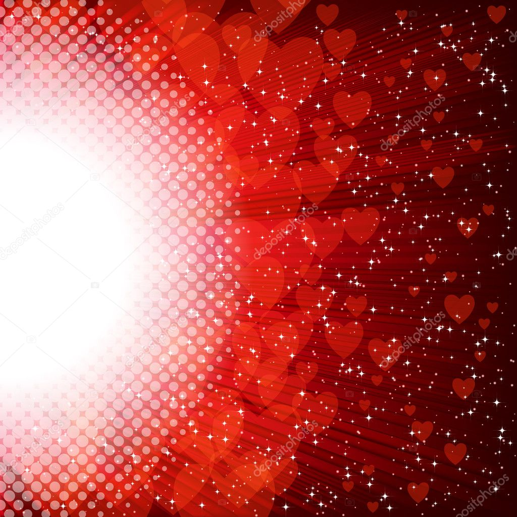 Abstract heart and stars on a red background  Stock Vector #4621332