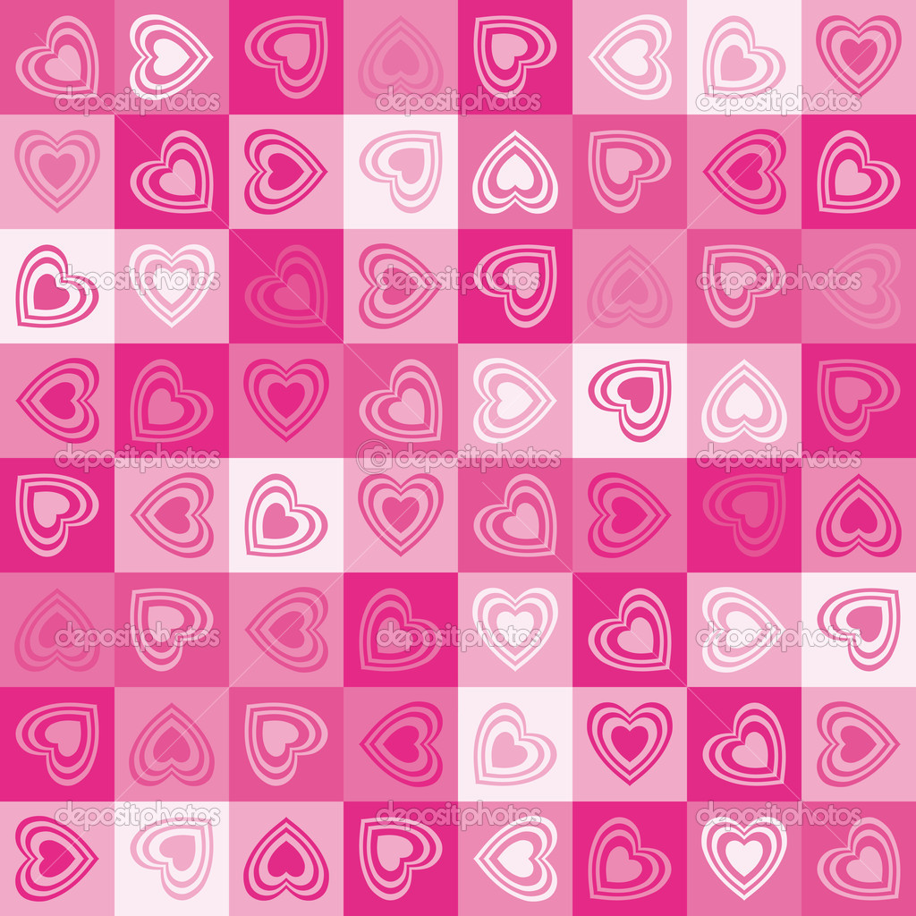 Cute heart seamless background, vector. — Stockvectorbeeld #4640882