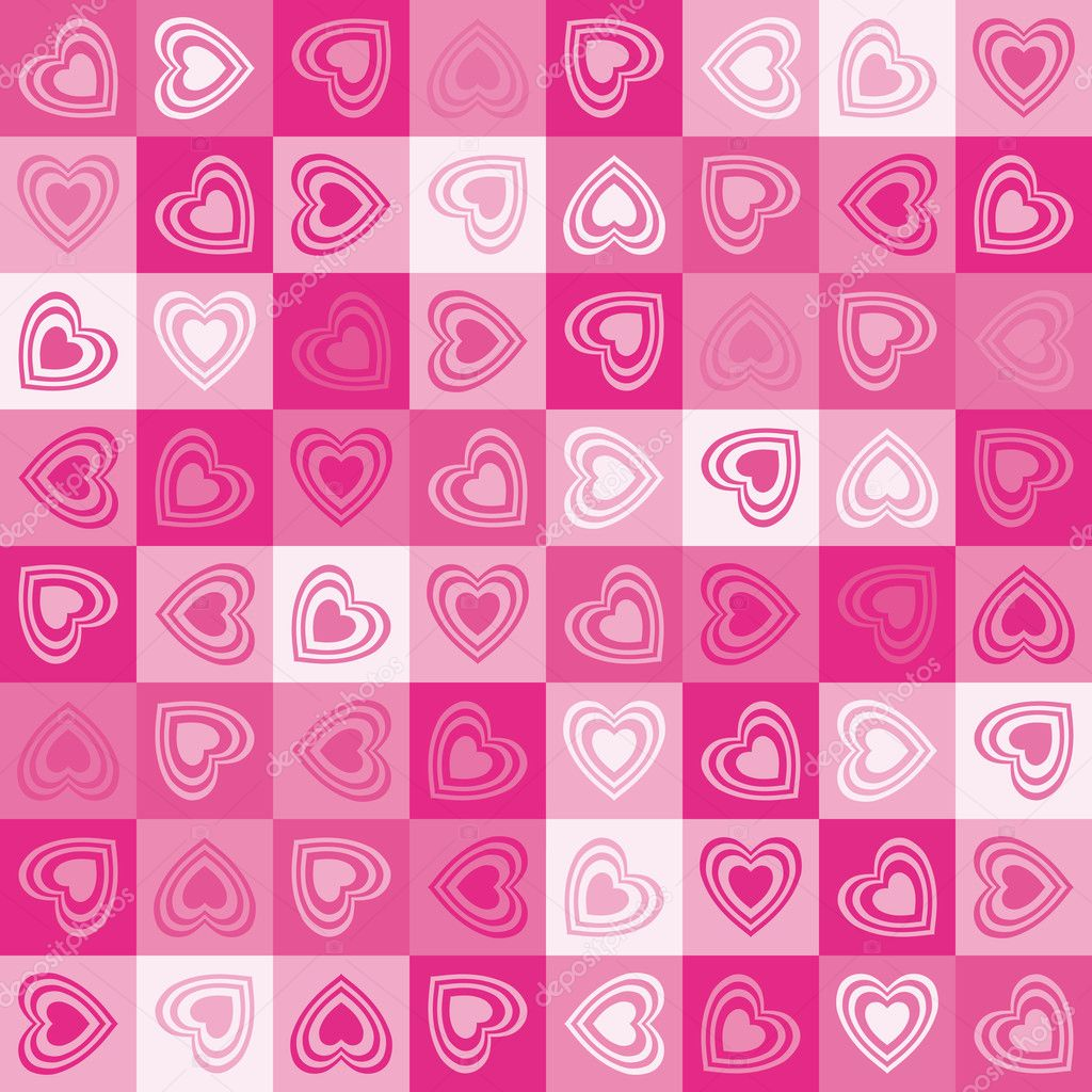 Cute heart seamless background, vector. — 图库矢量图片 #4640882