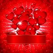 Royalty-Free Stock Vector Image: Beautiful background with glowing hearts and a festive ribbon.