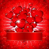 Beautiful background with glowing hearts and a festive ribbon. — Stockvector