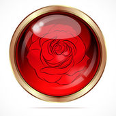 Bright button with a red rose flower. — Stock Vector