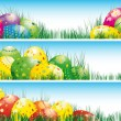 Easter banners with colorful Easter eggs - Stock Vector