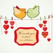 Invitation background. Couple of birdies, hearts on the clothesp — Imagens vectoriais em stock