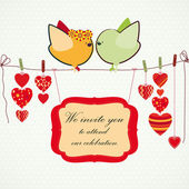 Invitation background. Couple of birdies, hearts on the clothesp — Stockvektor