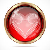Bright button with the white curls heart shape. — Vector de stock